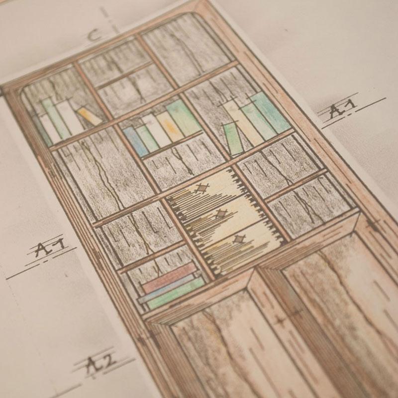 Handgezeichnete Möbelpläne