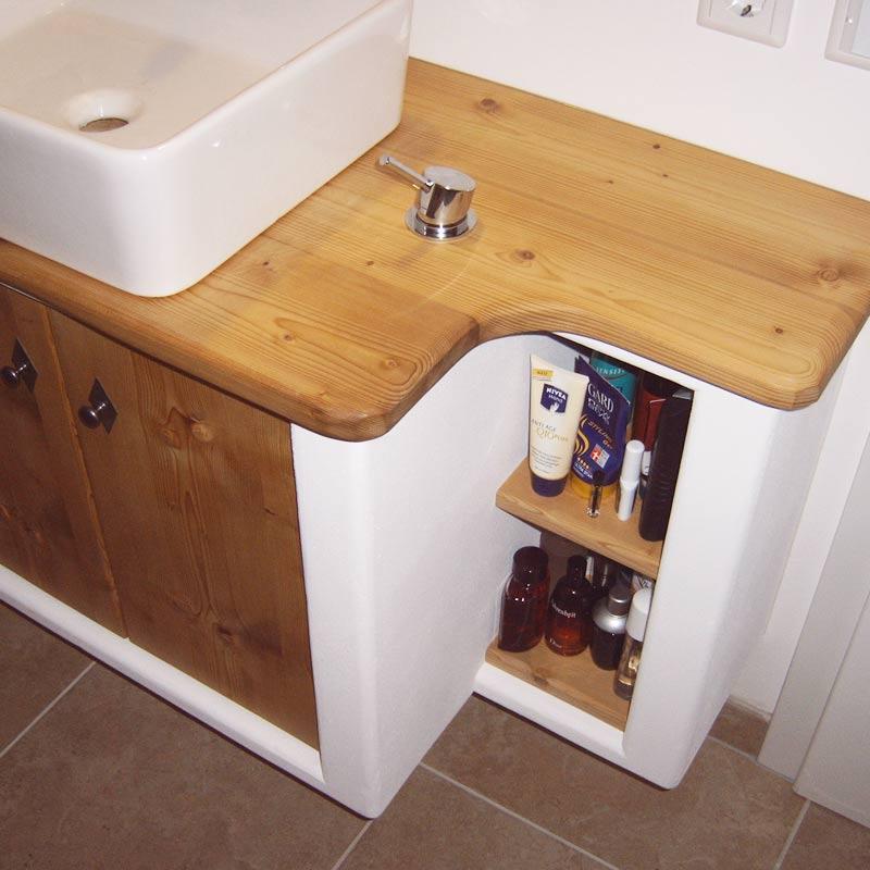 Waschtischunterschrank mit massiver Platte Fichte gedämpft