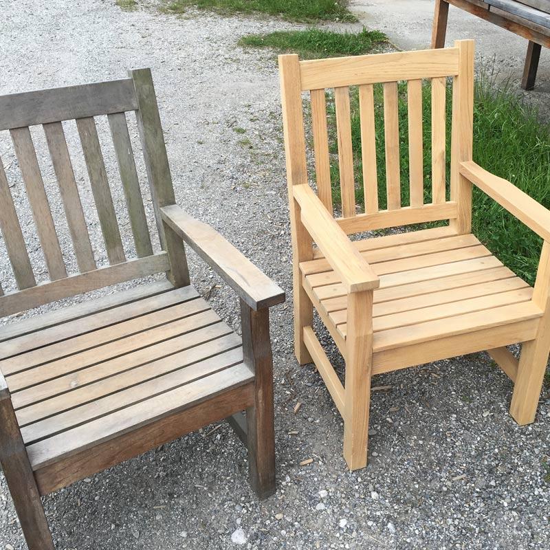 Gartenstühle Teak verwittert bzw. sandgestrahlt